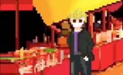 【入間川ドットアニメ】屋台の前でお礼を言うセンゴク